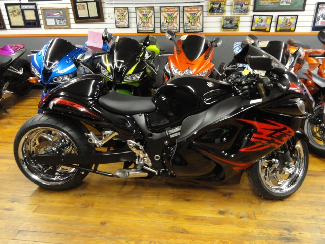 2011 Suzuki GSXR 1300- 240 Wide Tire Kit With Chrome RC Component Wheels, Chrome Footpeg Assemblies & Levers, Voodoo Exhaust, Seat Cowl, Tinted Windshield, Clear Turn Signals, by Garwood Custom Cycles