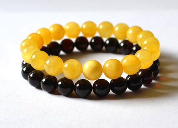 Two Bracelets  set 15% off  Amber egg yolk and cherry