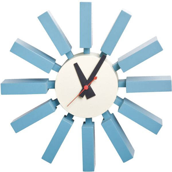 Mod Made Blue Wooden Spoke Wall Clock ($85) ❤ liked on Polyvore featuring home, home decor, clocks, fillers, hand clock, sun clock, wooden wall clock, modern home accessories and modern clock