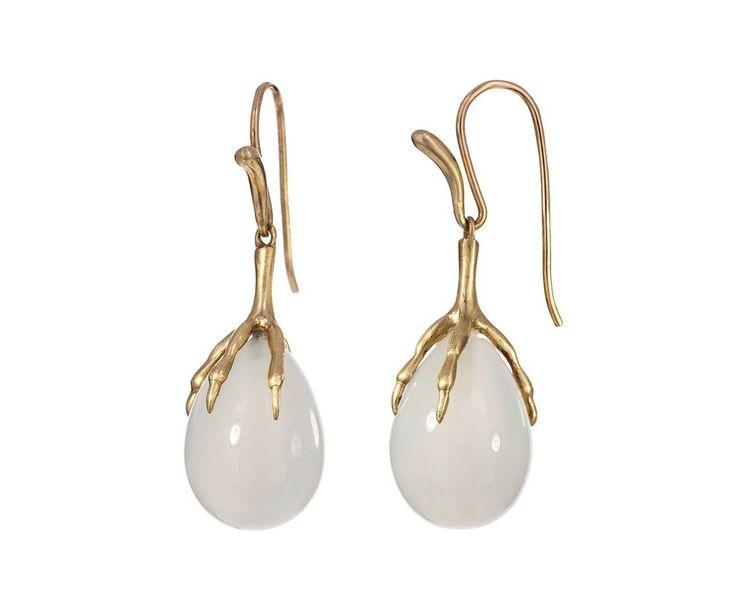 Annette Ferdinandsen Gold Moonstone Egg Earrings