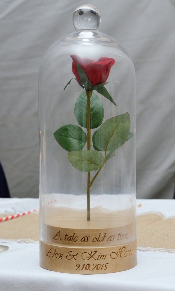 Handmade  Enchanted Rose Bell Jar from Beauty and the Beast. This was my wedding present from my hubby. It says Tale as old as time. Alex and Kim Heron and our wedding date. Hand-made Beauty and the Beast Bell jar. #Disney #BeautyandtheBeast #Wedding