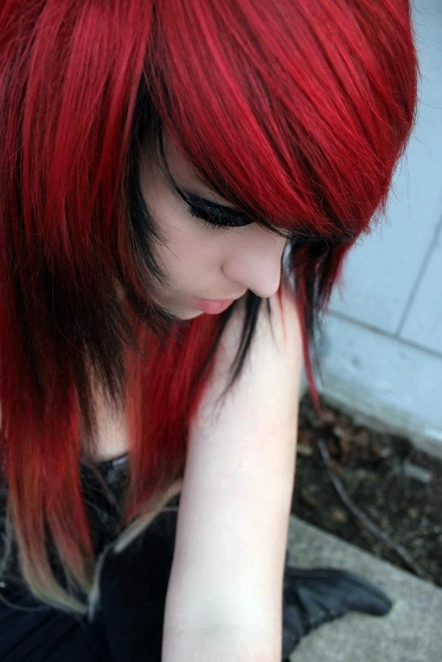 Regret, Black emo girl with red hair more detail