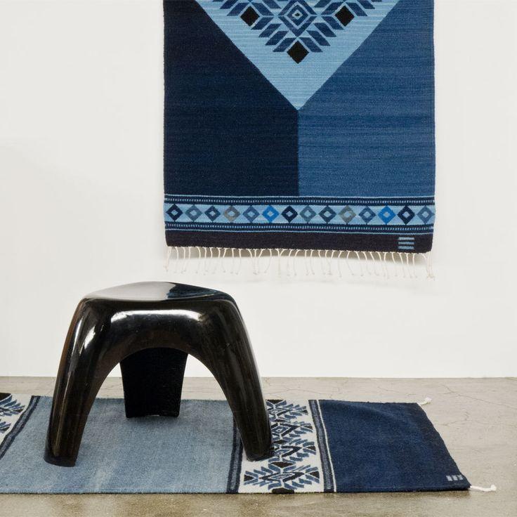 メキシコ、オアハカのLinda Zapoteca(リンダ サポテカ工房)の藍染めのサポテックラグです