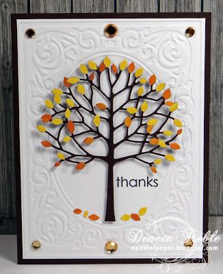 """By Deneen Treble. Dry emboss a white cardstock panel (She used the Heritage embossing folder) & attach it to a brown card front. Die cut the Memory Box """"Arboscello Tree"""" from brown cardstock, orange patterned paper, and yellow patterned paper. Snip the yellow & orange leaves from those trees. Add the leaves to the brown tree. Pop up the tree onto the card. Add leaves on the """"ground."""""""