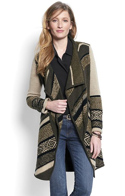 Because this season it's all about the sweater coat, we've designed one with a waterfall open front, in always-cool olive hues with a bold mix of stitches and intarsia patterns to keep things interesting. Your new layering favorite has an open front with waterfall lapels that drape just right and an asymmetrical hem.