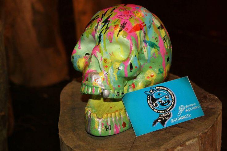 """Calavera artista: Kochino  Desarrollado para la primera edición de """"Marcando Calavera año 2012"""" evento de la marca Angeles Magenta"""