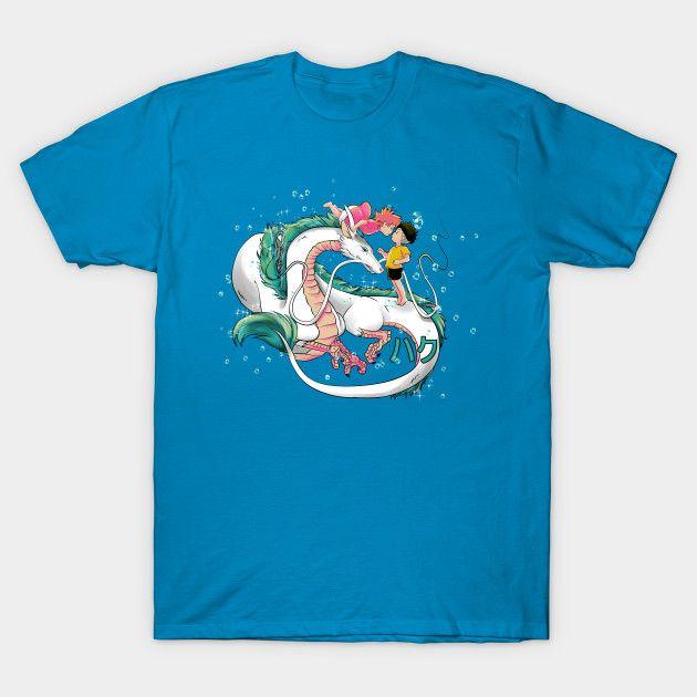 Do you like studio Ghibli? This is a crossover Haku from Spirited away and Ponyo, is on sale for only 14$ for 3 days #ponyo #haku #spiritedaway #dragon #love #baubles #anime #manga #studio #ghibli #studioghibli #tshirt #tshirts #maglietta #magliette #nerd #blue #azure #lover