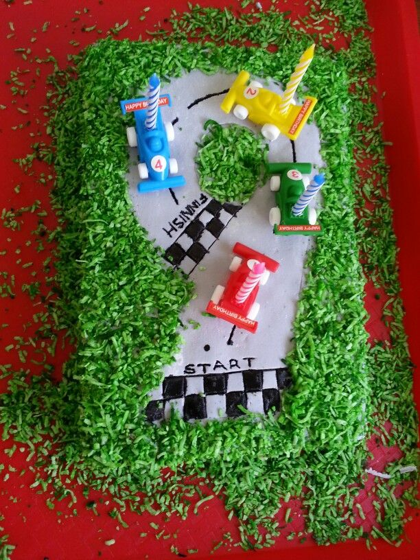 "Number ""9"" racetrack cake, made by me for my son."