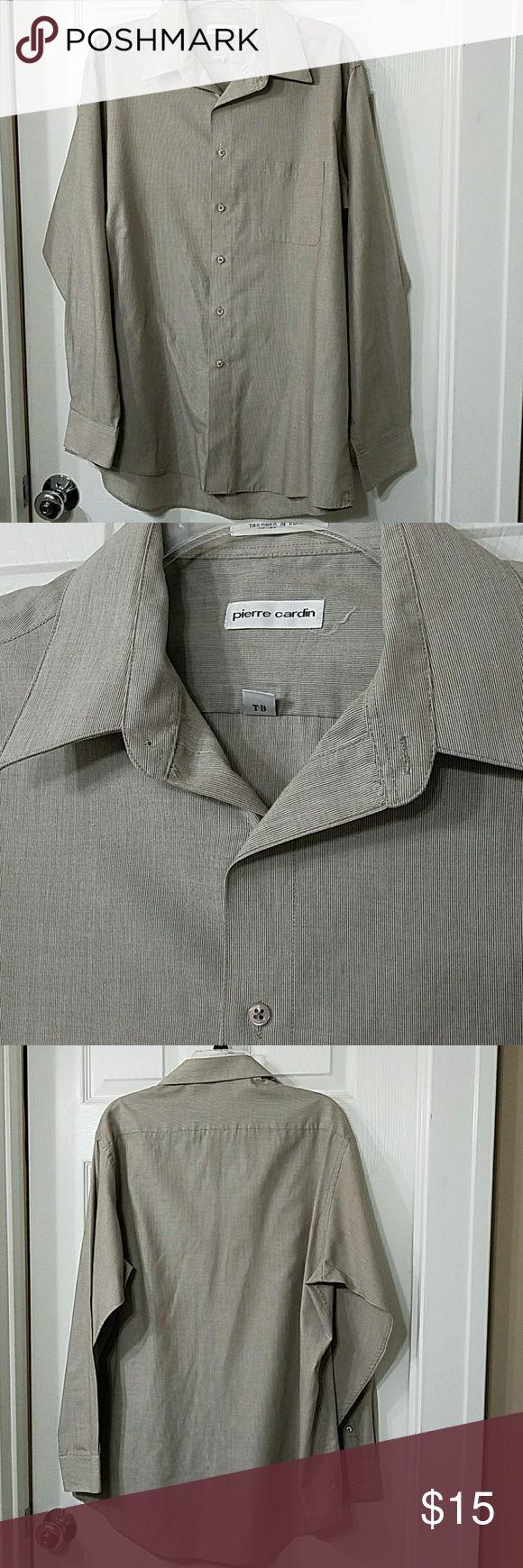 Pierre Cardin Dress Shirt EUC. 65%polyester, 35% cotton. Khaki/taupe in color. Size16-16 1/2, 34/35 Pierre Cardin Shirts Dress Shirts