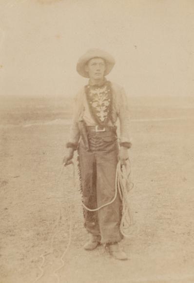 An Arizona cowboy, photo taken by Remington in 1886, Arizona Territor