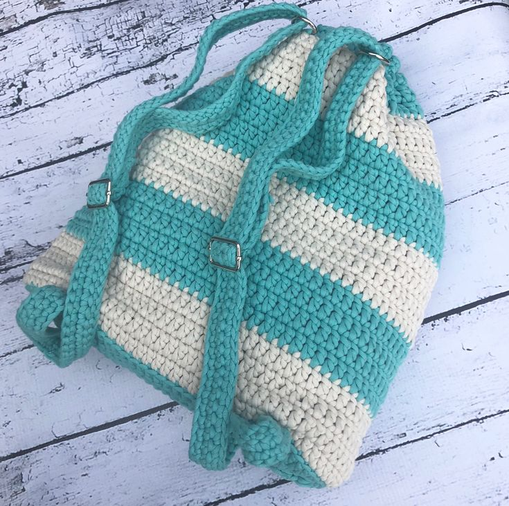 Excited to share the latest addition to my #etsy shop: Crochet lined aqua and cream backpack with picket and adjustable straps, cotton.