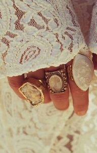 Big chunky rings & a lace outfit