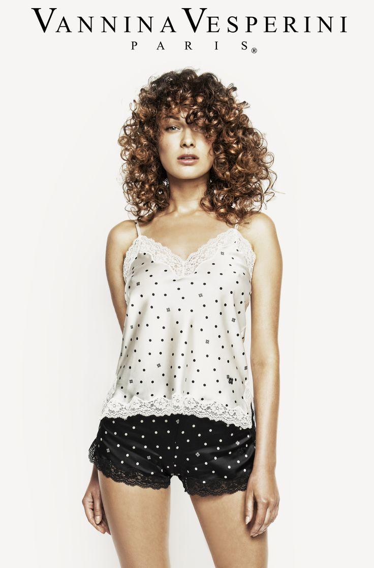 Vannina Vesperini S/S 15 Collection. Intemporel theme. Silk caraco and boxer in white and black polka-dots prints