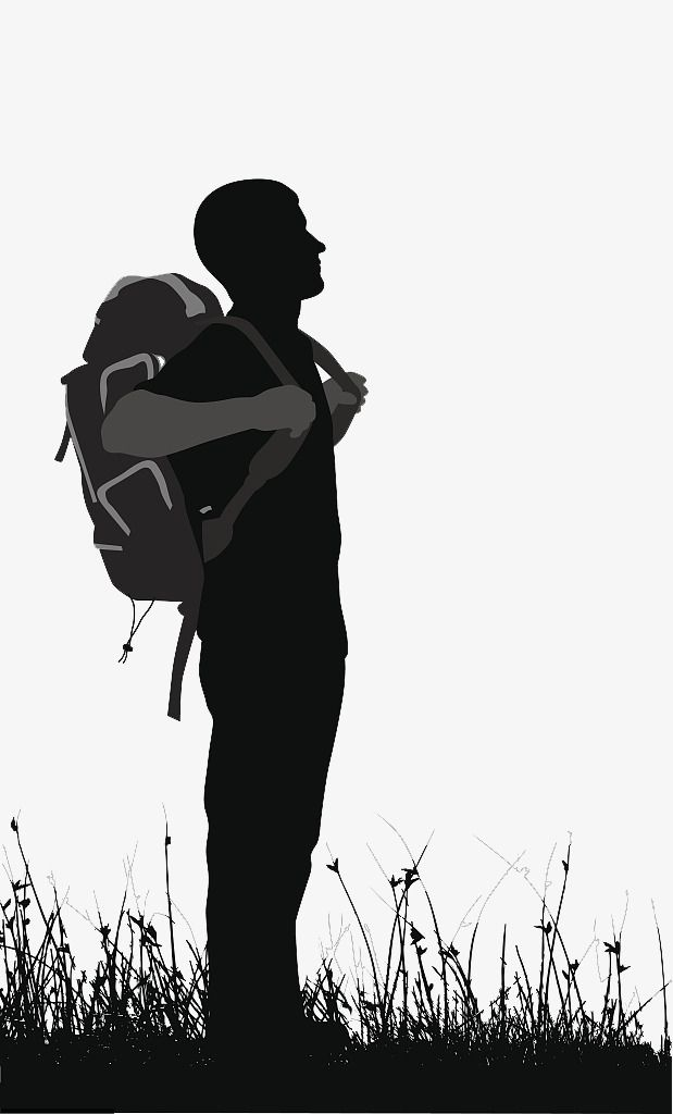 Vector Backpackers With Backpacks And Silhouettes Knapsack