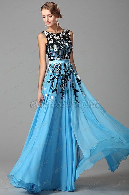 Fabulous Sleeveless Slit Evening Gown With Lace Applique (02151405) #fashion #dresses #eveningdresses #sleeves #promgowns #blue #applique