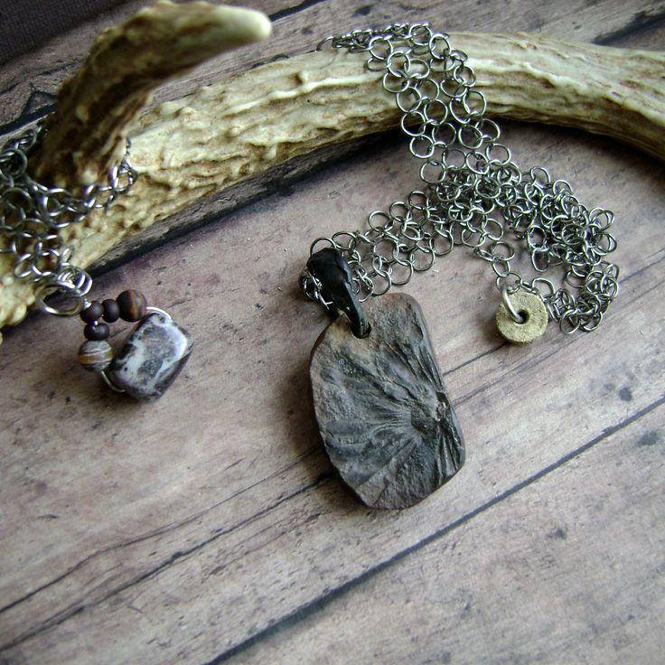 plant fossil necklace, chainmaille necklace, Mazon Braidwood fossil, soldered jewelry, unisex, ooak natural fossil jewelry, AnvilArtifacts by anvilartifacts on Etsy