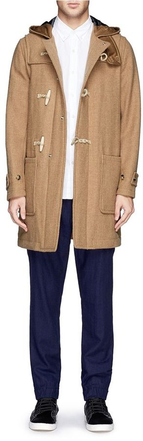 $930, Camel Duffle Coat: Beams Plus Gore Windstopper Harris Tweed Duffle Coat. Sold by Lane Crawford. Click for more info: http://lookastic.com/men/shop_items/133092/redirect