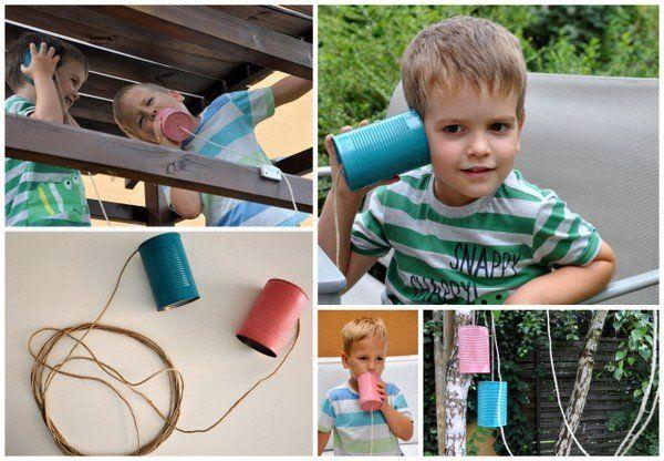 Konzervdoboz telefon gyerekeknek - Masni, Novasol Spray / Tincan phone, garden game DIY for kids