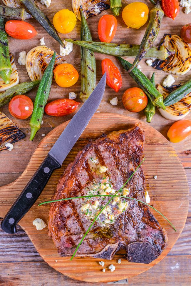 Grilled T-bone Steak with Blue Cheese, Bacon, and Chive Butter | Southern Boy Dishes