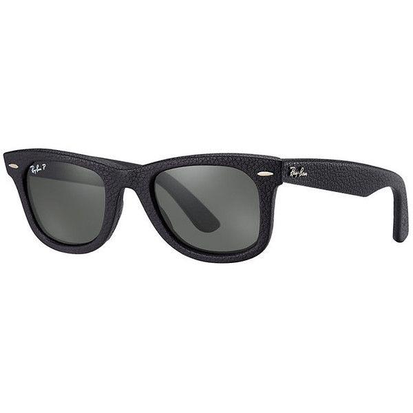 Ray-Ban Wayfarer Leather Black Sunglasses, Polarized Green Lenses -... (14,660 PHP) ❤ liked on Polyvore featuring accessories, eyewear, sunglasses, black, wayfarer sunglasses, wayfarer style glasses, ray-ban wayfarer, ray ban eyewear and ray ban sunglasses