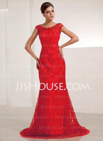 Evening Dresses - $147.49 - Mermaid Scoop Neck Court Train Lace Evening Dresses With Beading (017014206) http://jjshouse.com/Mermaid-Scoop-Neck-Court-Train-Lace-Evening-Dresses-With-Beading-017014206-g14206