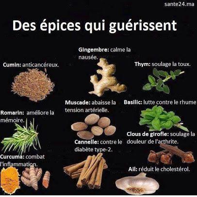 Épices : Cumin, thym, gingembre, basilic, cannelle, clou de girofle, curcuma, ail