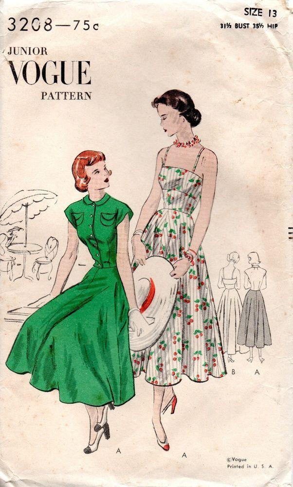 1940s Vogue Sewing Pattern 3208 Misses Jacket Dress Circular Skirt Size 13