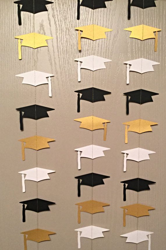 Black White and Gold Graduation Cap Garland by thepapercove