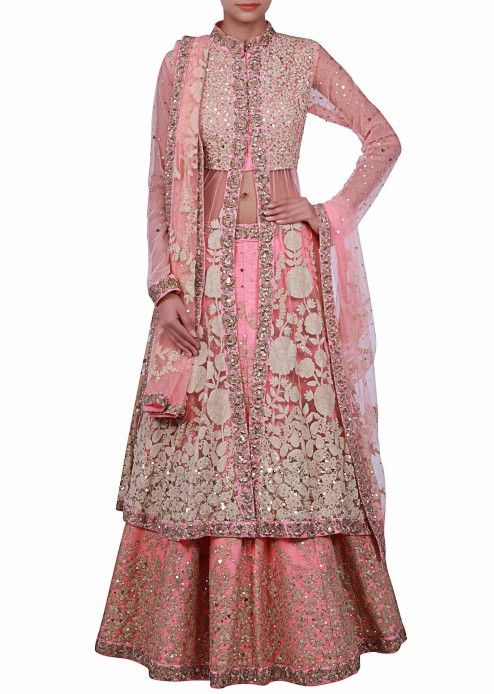 Pink long jacket lehenga enhanced in thread embroidery featuring in  only on Kalki
