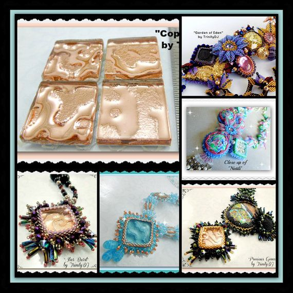 Copper Tiles -  Cabochons - Watermark Tiles - Create gorgeous beadwork and/or other crafts