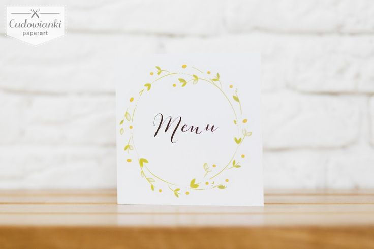 Botanical wedding menu with daisy. / Weselne menu z motywem stokrotek.