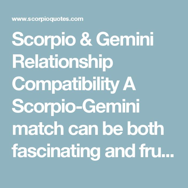 gemini and scorpio work relationship