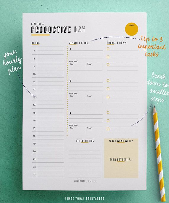 Daily productivity planner printables to help you focus on what matters, and get the important stuff done! Designed for stress-free day planning (no more bottomless todo lists) and more progress on your projects. Say goodbye to end-of-day guilt and hello to your success! ✨  Ive