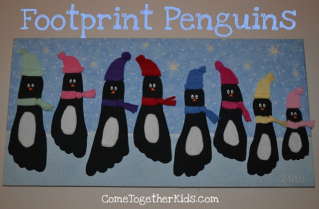 Christmas: Footprint Penguins. haha this is funny, kids would love it, probably too much work and creativity for me.