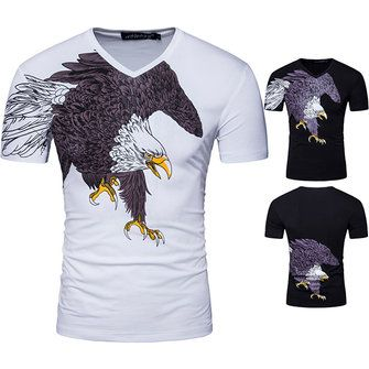 Summer Men's Eagle Print T-shirt V-neck Cotton Tees Casual Short Sleeve T-Shirt