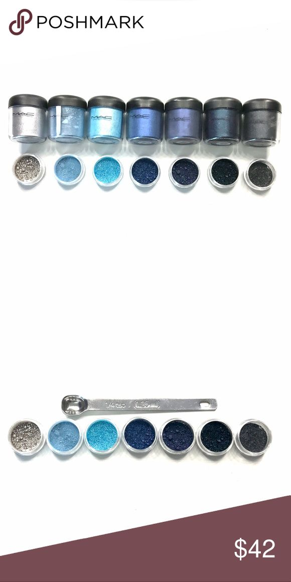 Authentic Mac Pigment Sample Set 1/4 teaspoon RARE This MAC Pigment sample set includes 1/4 teaspoon of each of the following pigments: Silver Fog, Aire-de-blu, Mutiny, Bell-Bottom Blu, Blue Storm, Deep Blue Green, and Dark Soul!This is a perfect way to try out Authentic MAC Pigments without spending a fortune on them. These Pigments are perfect for any occasion! Get them while they last! SHIPS THE NEXT DAY! Pigments come in 3g BPA Free jars! MAC Cosmetics Makeup Eyeshadow