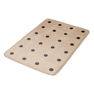"""""""Dottie""""  Deep Cream_Black Polka Dots_Lg Rug Bathroom Mat"""