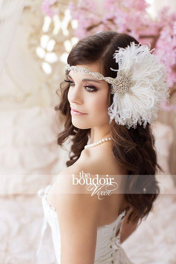 Fascia piuma bianca avorio, Bridal testa pezzo, piuma Fascinator, 1920 Flapper, il grande Gatsby, Crystal testa vestito, copricapo Costume
