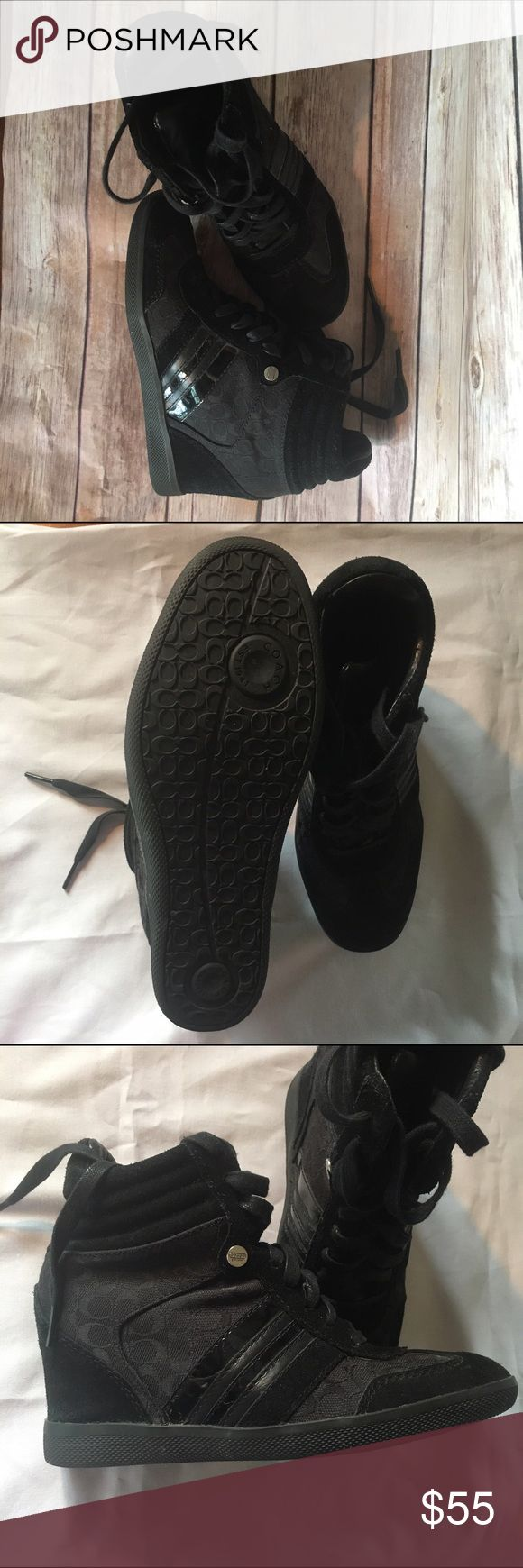Like new coach alara hidden wedge sneakers Coach alara hidden wedge sneakers in black. These beauties are in a size 6M and feature the signature Coach print trimmed in suede and polished patent leather. Rubber sole. Silver coach charm and leather tongue. Worn once. Coach Shoes Sneakers