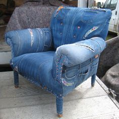 I love this chair upholstered with blue denim jeans!