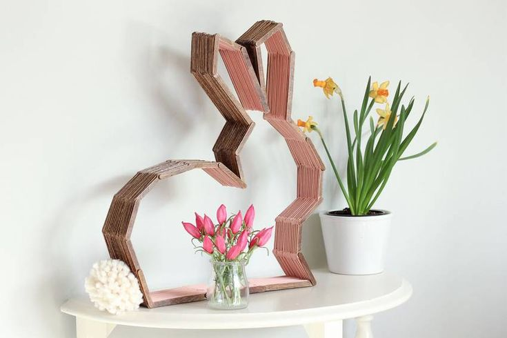 Shelf rabbit out of Popsicle sticks