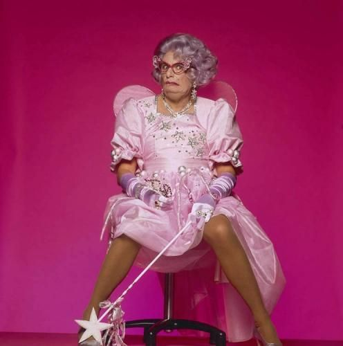 "Barry Humphries as Dame Edna Everidge, alter ego of Australian comedian and satirical writer Barry Humphries, in costume as a fairy, 1990 Photograph by Terry O'Neill Available in the following sizes: 16"" x 16"" / 20"" x 20"" / 24"" x 24"" / 30"" x 30"" / 40"" x 40"" / 48"" x 48"" / 60"" x 60"" / 72"" x 72""  For questions or prices please contact us at info@igifa.com"