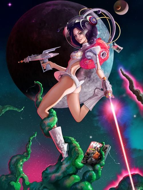 Outer Space Girl With Ray Guns  Art Of C A R T O O N S T -5175