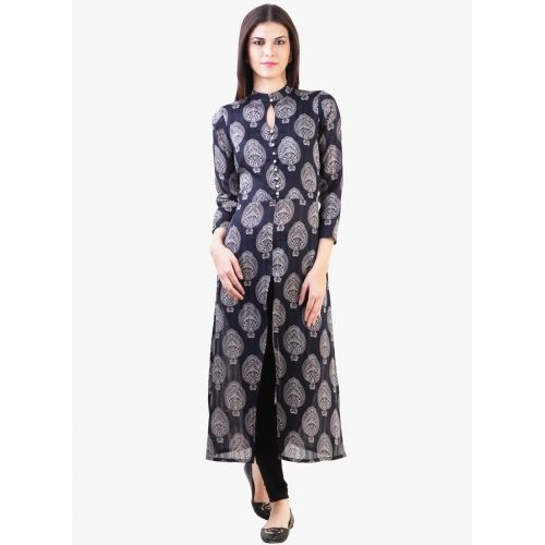 Buy Libas Navy Blue Printed Front Open Slit Kurta online in India at best price. Flaunt sartorial elegance as you wear this kurta from the house of Libas. Look classy and stylish i