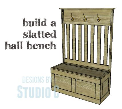 """DIY Plans to Build a Slatted Hall Bench_Copy 
