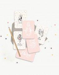 lot-mini cartes-communion-baptême-rose-dragee. A retrouver sur Catho Rétro, www.cathoretro.com, le concept store chrétien.