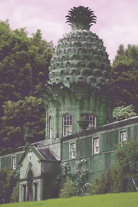 The Dunmore Pineapple. Scotland. Built by the 4th Earl of Dunmore, John Murray, in 1761 as a birthday present for his wife Susan, in the form of a pavilion from which to view the walled gardens of Dunmore Park, the family estate. Why did the Earl top off his pavilion with a pineapple? Presumably to show that he could.