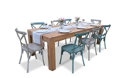 Teak Outdoor Timber 8 Seater Table Vintage Cross Back Chairs Stylish Dining Set