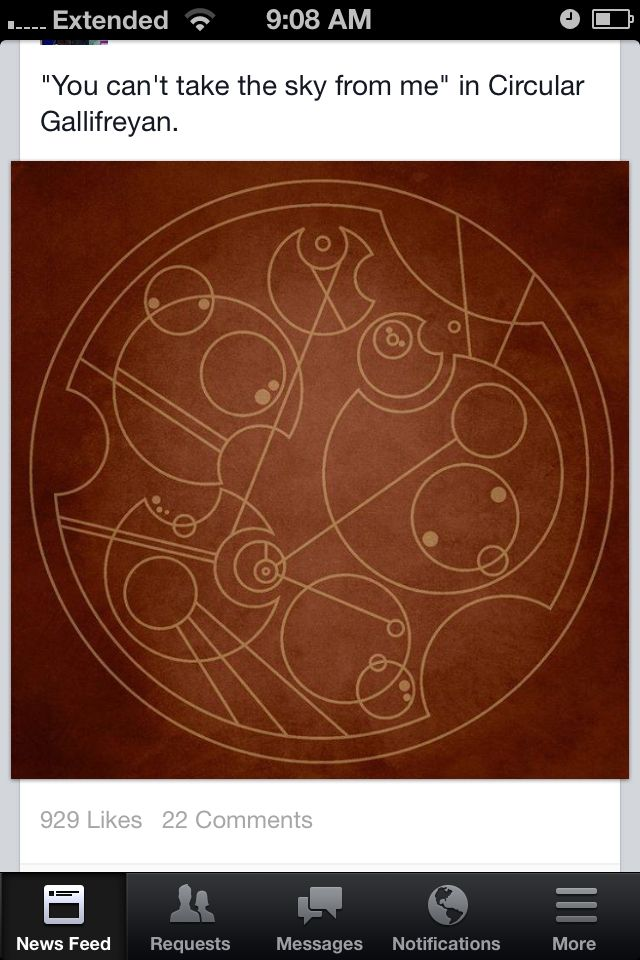 """You can't take the sky from me"" in Gallifreyan. And there you have it friends. That. Is. Awesome!"