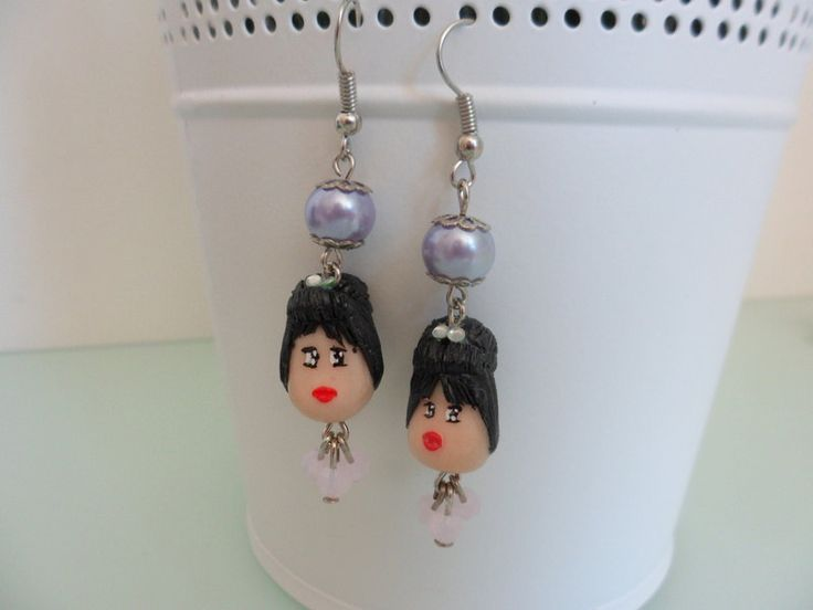 Vintage Doll lilac earring, Audrey Hepburn earring, Marilyn Monroe earring, Breakfast at Tiffany's by TheWonderfulClay on Etsy